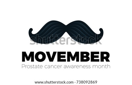 Movember or November men health awareness month mustache symbol. Vector mustache icon for no shave social solidarity event against man Movember prostate cancer campaign poster or banner