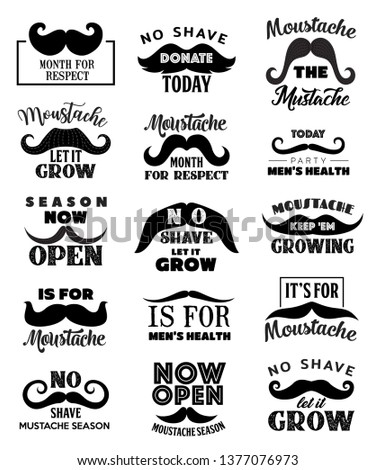 Movemeber mustaches icons. Vector men health and prostate cancer awareness symbol, keep mustache grow and no shave man, social Movemeber movement mustaches signs