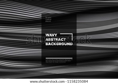 Movement. Monochrome Abstract Background of Waves. Modern Bright Flow Poster. Blend. Distortion of Wave Stripes. 3d Surface with Optical Illusion. Monochrome Warped Lines Movement Effect. Eps10 Vector