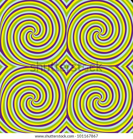 Movement (motion illusion). Spiral forming optical effect. Seamless pattern.