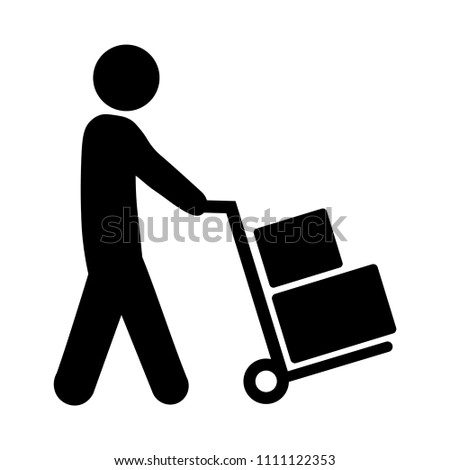 Mover pushing moving hand truck or dolly with boxes.
