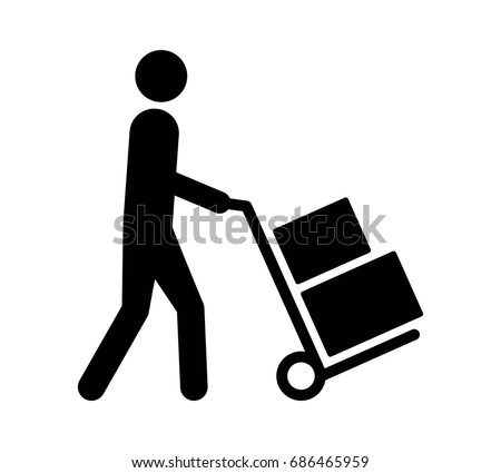 Mover pushing moving hand truck or dolly with boxes flat vector icon for apps and websites
