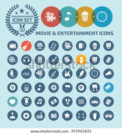 Movie and entertainment icon set design,clean vector