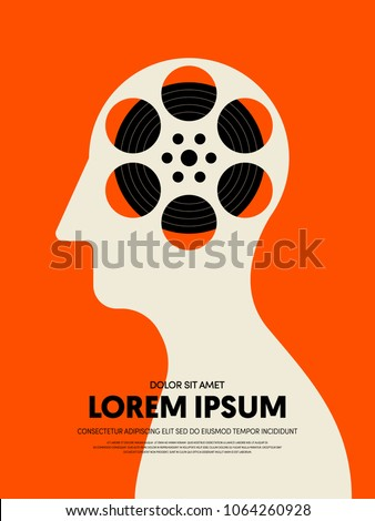 Movie and film abstract modern poster background. Design element template can be used for backdrop, brochure, leaflet, publication, vector illustration