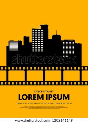 Movie and film festival poster template design modern retro vintage style. Can be used for background, backdrop, banner, brochure, leaflet, leaflet, advertisement, publication, vector illustration