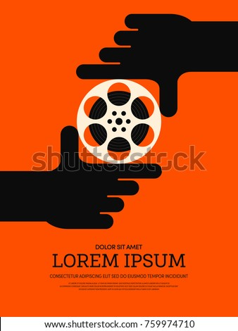 Movie and film modern retro vintage poster background, design element template, vector illustration