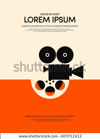 Movie and film modern retro vintage poster background vector illustration