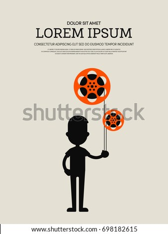 Movie and film modern retro vintage poster background, vector illustration