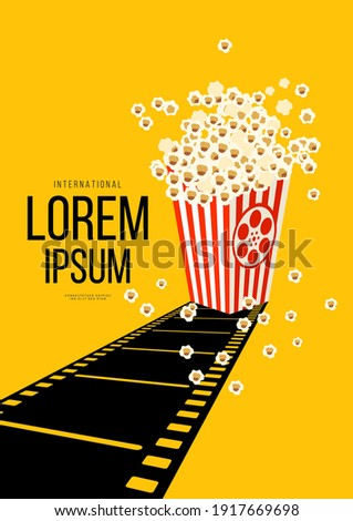 Movie and film poster design template background with retro filmstrip and popcorn. Can be used for backdrop, banner, brochure, leaflet, flyer, print, publication, vector illustration