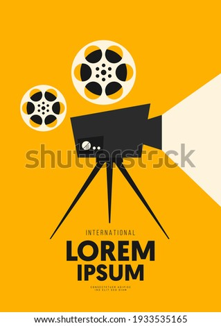 Movie and film poster design template background with vintage camera. Can be used for backdrop, banner, brochure, leaflet, flyer, print, publication, vector illustration