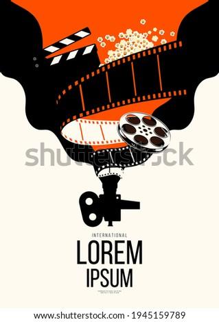 Movie and film poster design template background with vintage film reel. Can be used for backdrop, banner, brochure, leaflet, flyer, print, publication, vector illustration