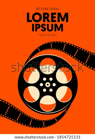 Movie and film poster design template background with vintage film reel. Design element can be used for backdrop, banner, brochure, leaflet, flyer, print, publication, vector illustration