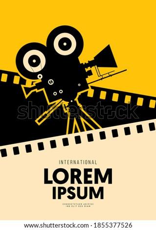 Movie and film poster design template background with vintage filmstrip. Design element can be used for backdrop, banner, brochure, leaflet, flyer, print, publication, vector illustration