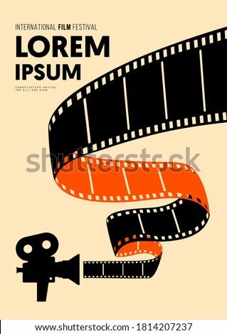 Movie and film poster design template background with vintage filmstrip. Graphic design element can be used for backdrop, banner, brochure, leaflet, flyer, print, publication, vector illustration