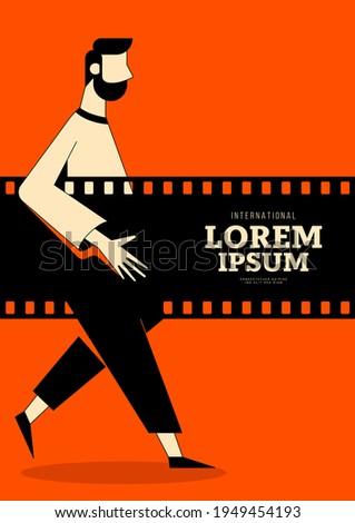 Movie and film poster design template background with vintage retro film reel. Can be used for backdrop, banner, brochure, leaflet, flyer, print, publication, vector illustration