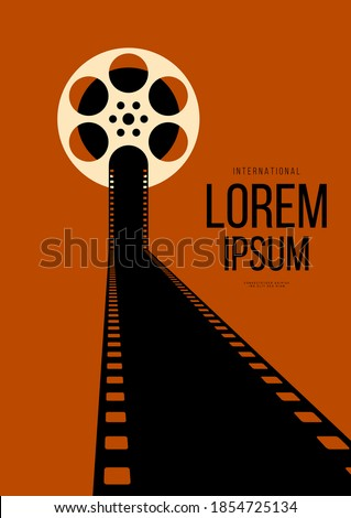 Movie and film poster design template background with vintage retro filmstrip. Design element can be used for backdrop, banner, brochure, leaflet, flyer, print, publication, vector illustration