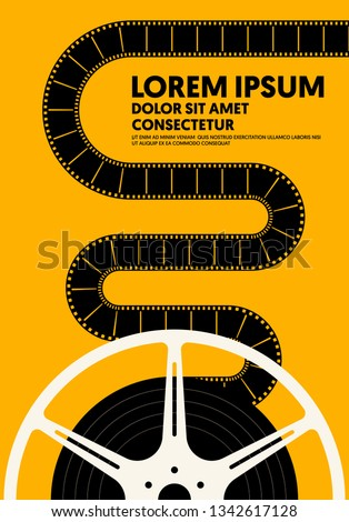 Movie and film poster modern vintage retro style. Graphic design template can be used for background, backdrop, banner, brochure, leaflet, flyer, print, publication, vector illustration