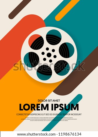 Movie and film poster template design modern retro vintage style. Can be used for background, backdrop, banner, brochure, leaflet, flyer, advertisement, publication, vector illustration