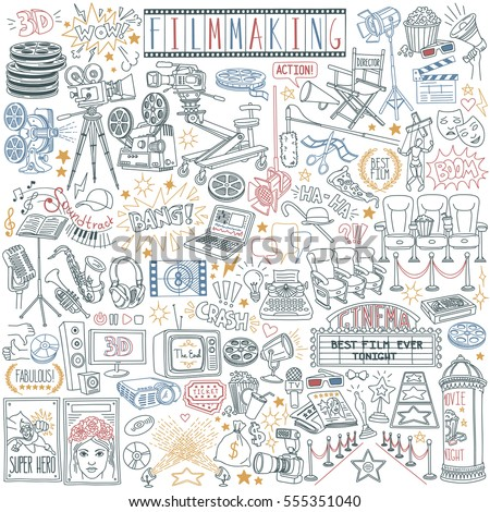 Movie and filmmaking vector drawings collection isolated on white background. Cinematography tools and equipment.