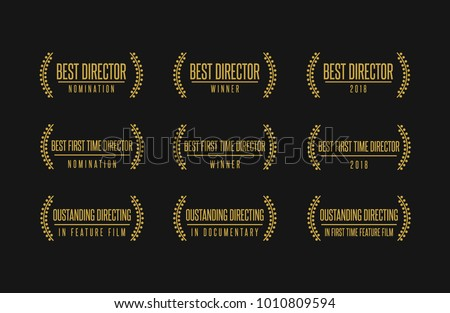 Movie award best director feature film documentary achievement vector logo icon set