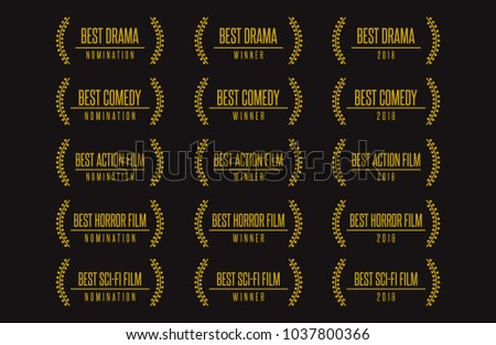 Movie award best feature film genres vector illustration. Drama comedy horror action sci-fi nomination winner logo icon set