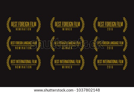 Movie award best foreign language film nomination winner black gold vector icon set