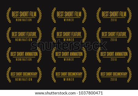 Movie award best short animated feature film motion picture. Nomination winner black gold vector icon set