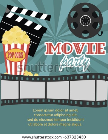 Movie Birthday party invitation card design template. Vector illustration