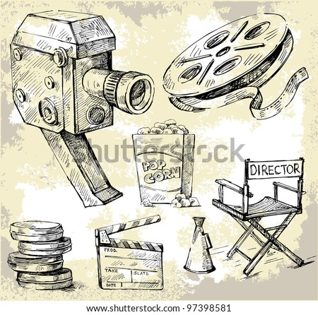 movie camera-hand drawn - stock vector