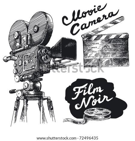 movie camera-original hand drawn collection - stock vector