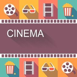 Movie cinema poster and  design elements place for text,  vector