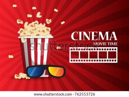 Movie cinema poster design. Vector template banner for show with popcorn
