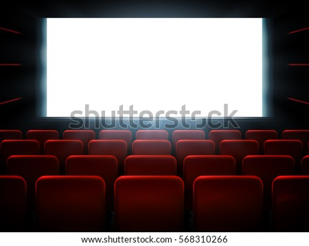 Movie cinema premiere poster design with white screen. Vector background.