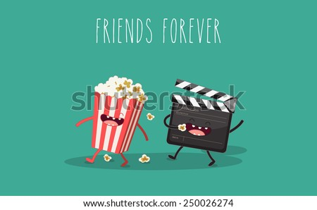 movie clapper and popcorn in