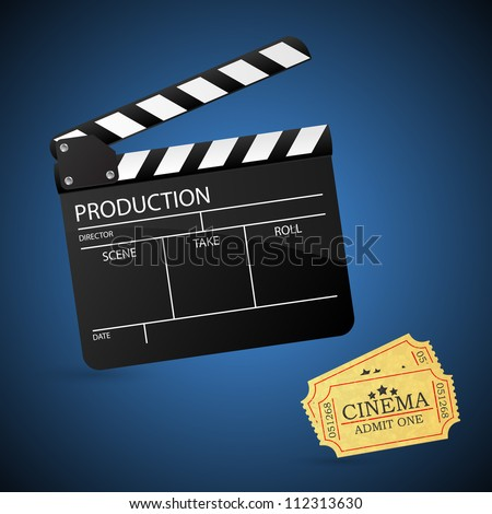 Movie clapper board and admit one ticket. Vector illustration.