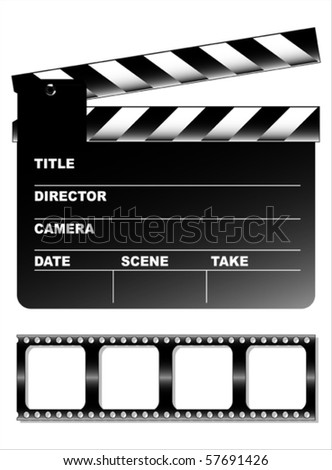 Movie clapper board and filmstrip vector - stock vector