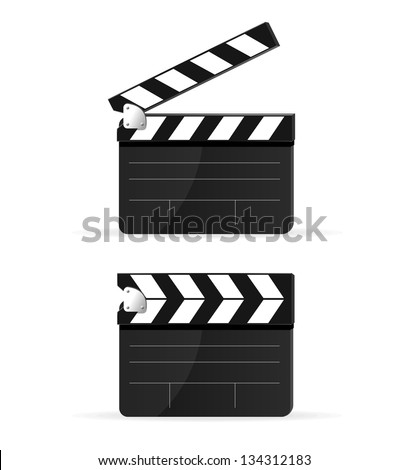 Stock Photo Movie clapper board set isolated