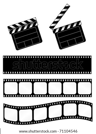 movie clapper with 3 film strips. Also available as jpeg. - stock vector