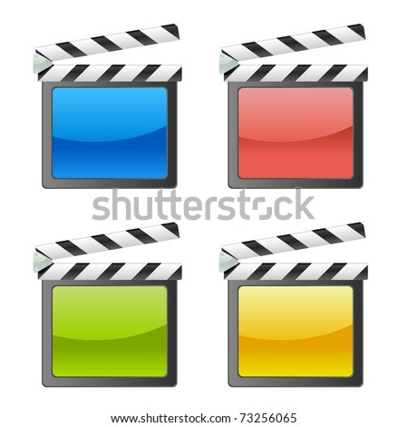 movie clapperboard - 4 color - stock vector