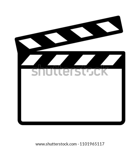 Movie clapperboard or film clapboard line art vector icon for video apps and websites
