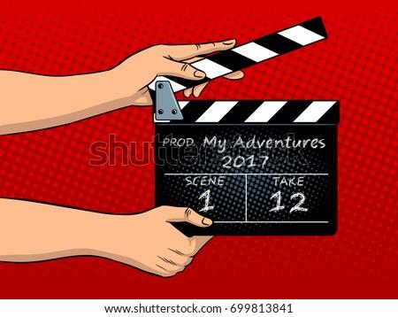 movie clapperboard pop art hand