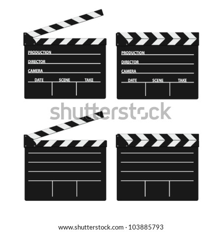 movie clipper white vector on white background