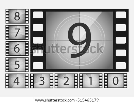 Movie countdown numbers vector set. The countdown to the start of the old film. The timer countdown cinema isolated from the background