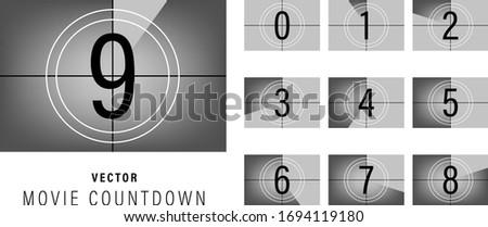 Movie countdown. Retro style television screen. Vector illustration. Foto stock ©