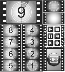 Movie countdown, vintage silent film and blank full frame still photography film (realistic thirty five millimeters proportions), set of icons