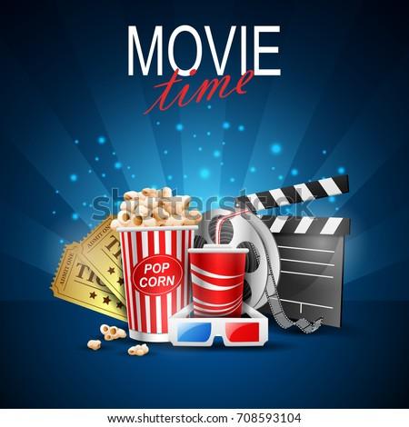 movie design above background blue.vector illustration