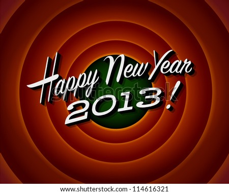 Movie ending screen - Happy New Year 2013 - Vector EPS10 - stock vector