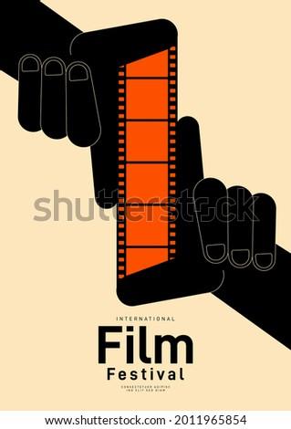 Movie festival poster design template background with vintage filmstrip. Can be used for backdrop, banner, brochure, leaflet, flyer, print, publication, vector illustration