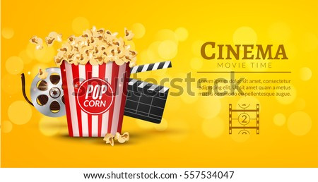 Movie film banner design template. Cinema concept with popcorn, filmstrip and film clapper. Theater cinematography poster