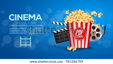 Movie film banner design template. Cinema concept with popcorn, filmstrip and film clapper. Theater cinematography poster.
